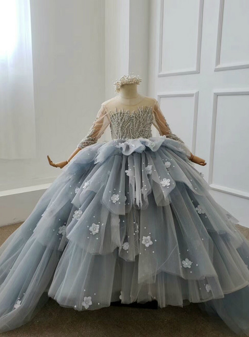 Gray Ball Gown Tulle Appliques 3/4 Sleeve Backless Beading Flower Girl Dress