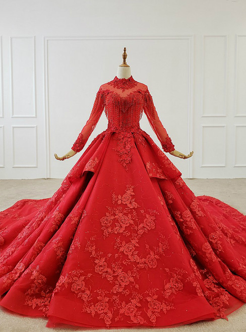 Red Ball Gown Tulle Appliques High Neck Long Sleeve Beading Wedding Dress With Long Train