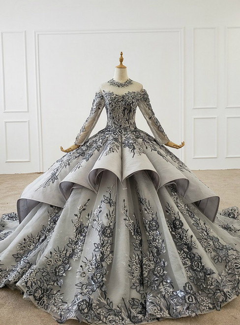 Dark Gray Ball Gown Tulle Embroidery Appliques Long Sleeve Wedding Dress