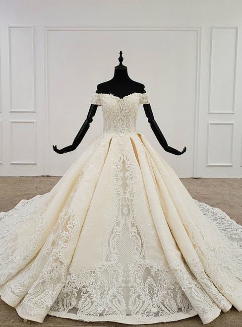 Champagne Ball Gown Satin Off the Shoulder Appliques Wedding Dress
