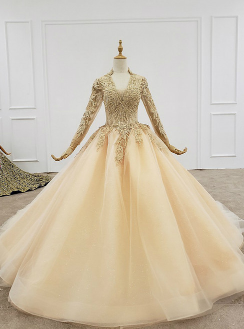 Champagne Ball Gown Tulle V-neck Long Sleeve Wedding Dress Wit Beading