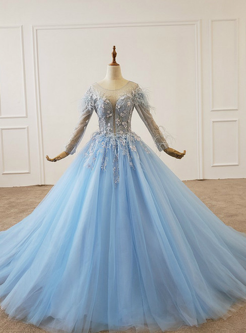 Sky Blue Tulle Long Sleeve Backless Appliques Beading Wedding Dress
