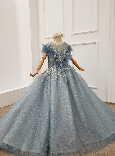 Blue Ball Gown Tulle Appliques Beading Flwoer Girl Dress