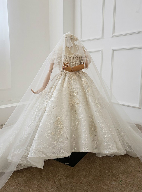 White Ball Gown Sequins Spaghetti Straps Appliques Flower Girl Dress