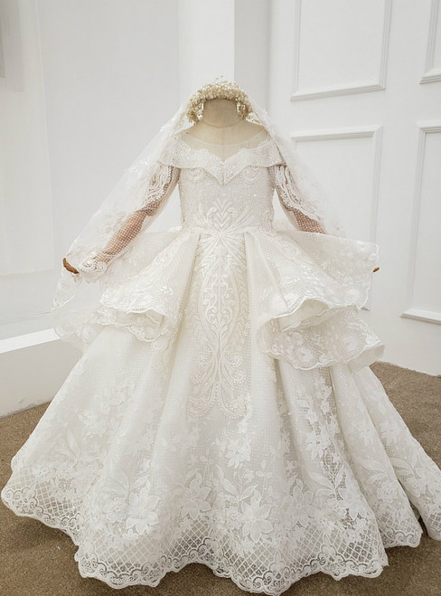 White Ball Gown Sequins Long Sleeve Appliques Beading Flower Girl Dress