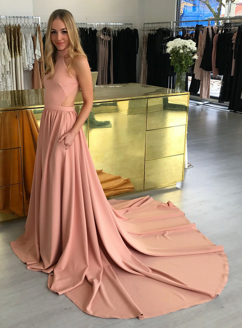 Open Back High Neck Satin Evening Dress with Pockets and Long Train