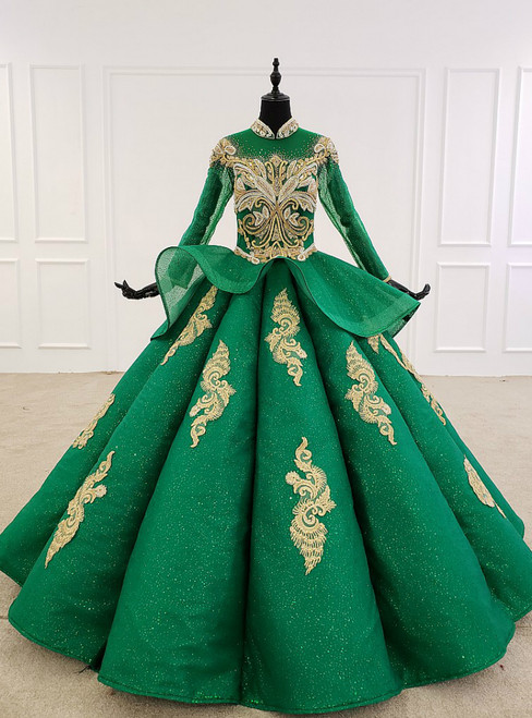 Green Ball Gown Tulle High Neck Long Sleeve Beading Crystal Wedding Dress