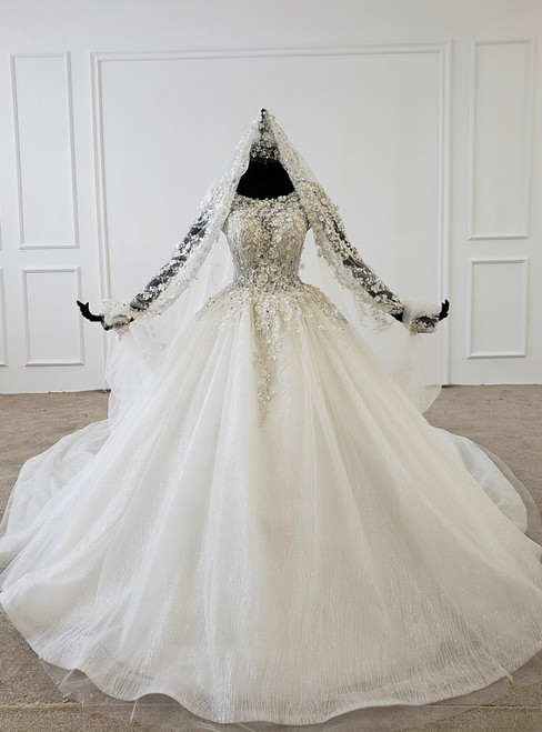White Ball Gown Tulle Sequins Cap Sleeve Appliques Beading Wedding Dress