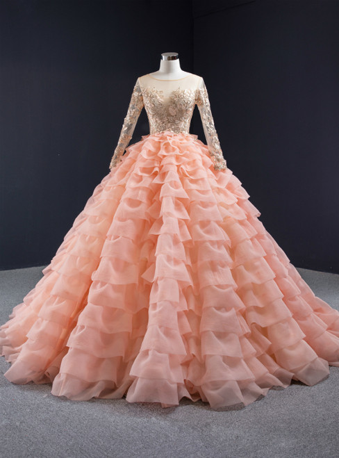 Orange Ball Gown Tulle Tiers Long Sleeve Appliques Prom Dress