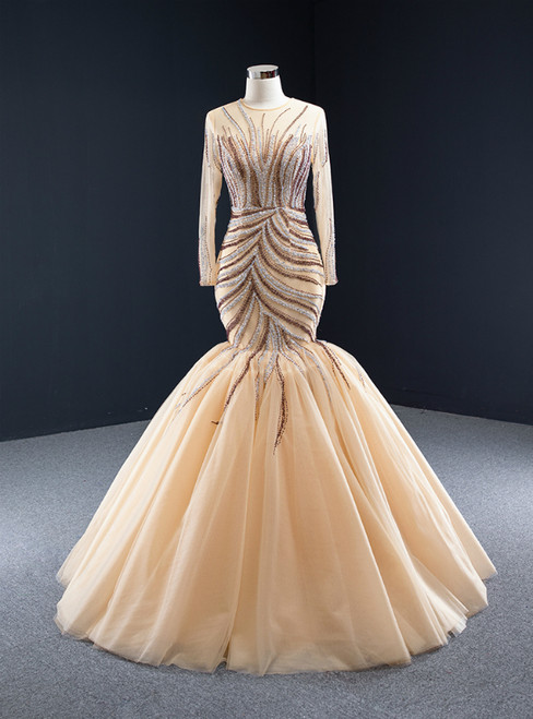 Champagne Mermaid Tulle Beading Long Sleeve Prom Dress