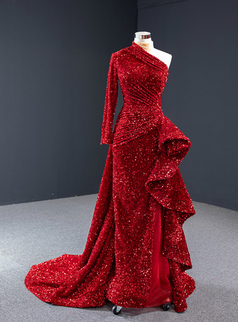 Red Mermaid Sequins Long Sleeve Backless High Neck Pleats Prom Dress
