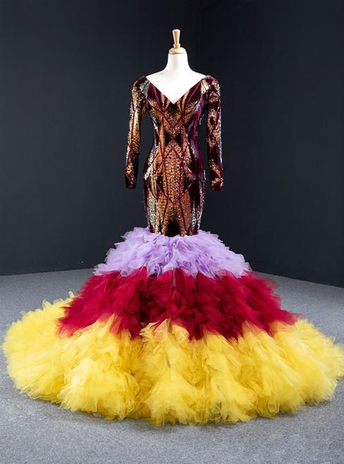 Colorful Memraid Sequins Tulle Long Sleeve V-neck Prom Dress