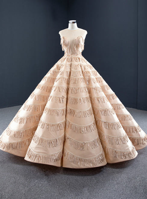 Champagne Ball Gown Sequins Backless Floor Length Prom Dress