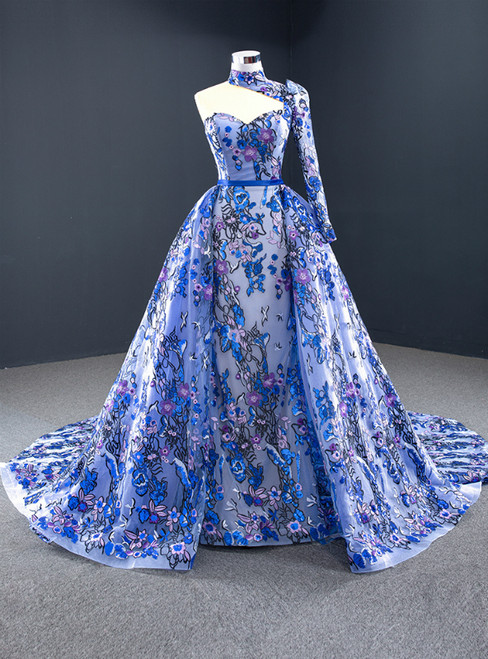 Blue Tulle Embroidery High Neck Long Sleeve Backless Prom Dress