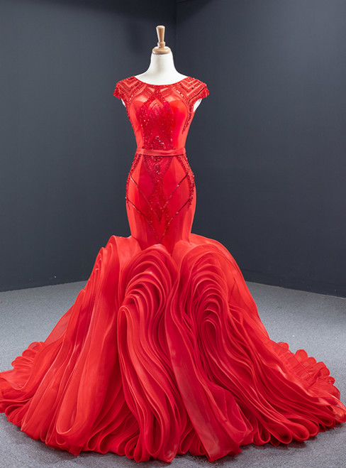 Red Mermaid Tulle Cap Sleeve Beading Sequins Backless Prom Dress