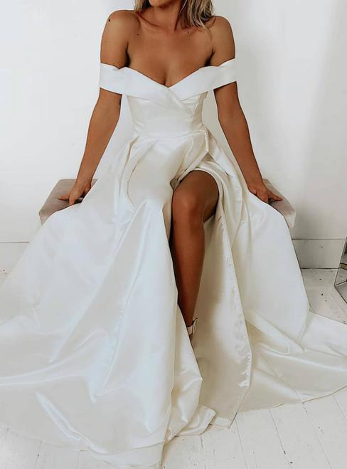 A-Line White Satin Off the Shoulder Formal Brides Wedding Dress