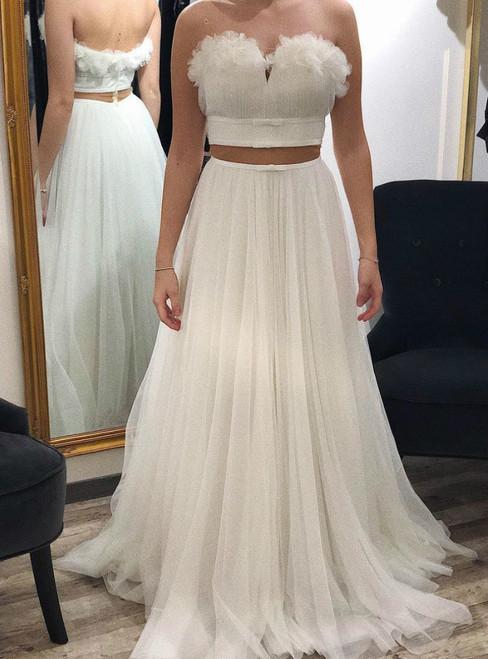 White Tulle Sweetheart Two Piece Sweetheart Long Wedding Dress