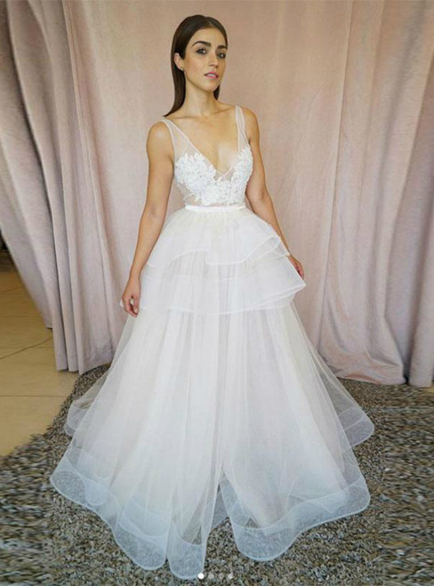 A-Line White Tulle Deep V-neck Appliques Wedding Dress