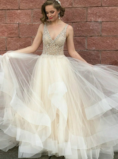 A-Line Champagne Tulle Deep V-neck Beading Long Prom Dress 2020