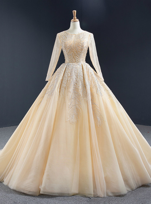 Champagne Ball Gown Tulle Sequins Long Sleeve Backless Prom Dress