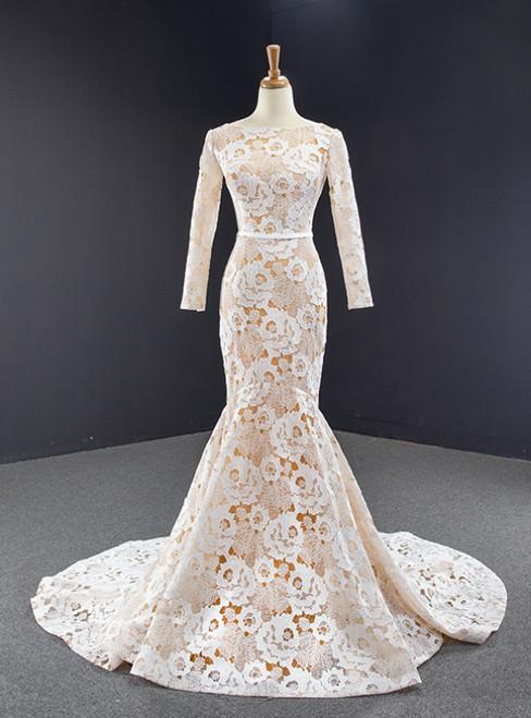 Champagne Memraid Tulle Lace Flower Long Sleeve Prom Dress