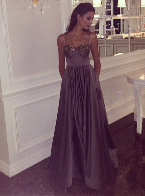 Sparkly Sweetheart Chocolate Satin Evening Dresses Long Prom Gowns 2017