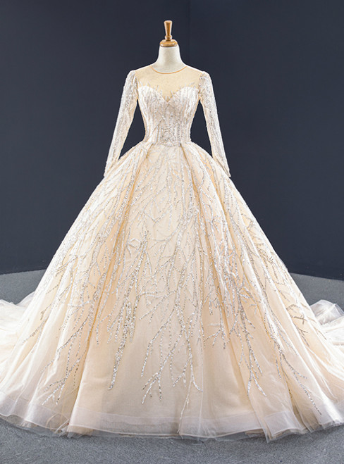 Champagne Ball Gown Tulle Seuqins Long Sleeve Prom Dress