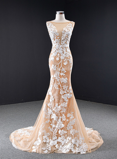 Dark Champagne Tulle Mermaid Lace Appliques Prom Dress