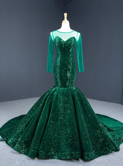 Dark Green Mermaid Sequins Long Sleeve Prom Dress With Train