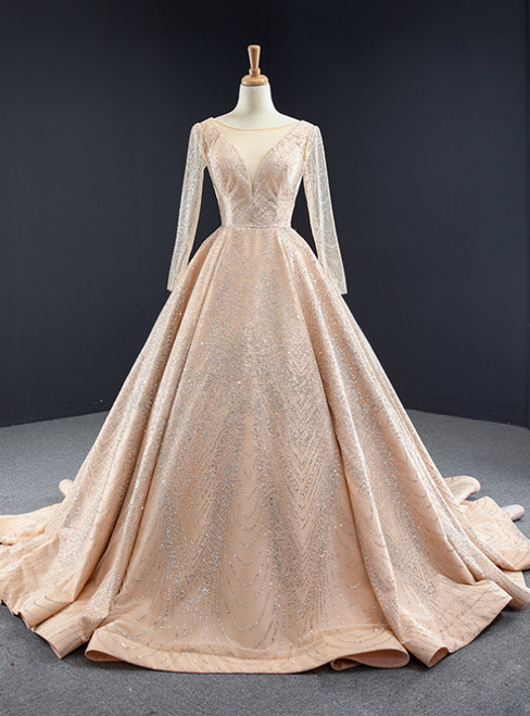 Gold Ball Gown Tulle Sequins Long Sleeve Backless Prom Dress