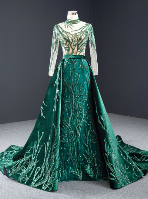 Green Mermaid Velvet High Neck Long Sleeve Sequins Prom Dress With Removable Train