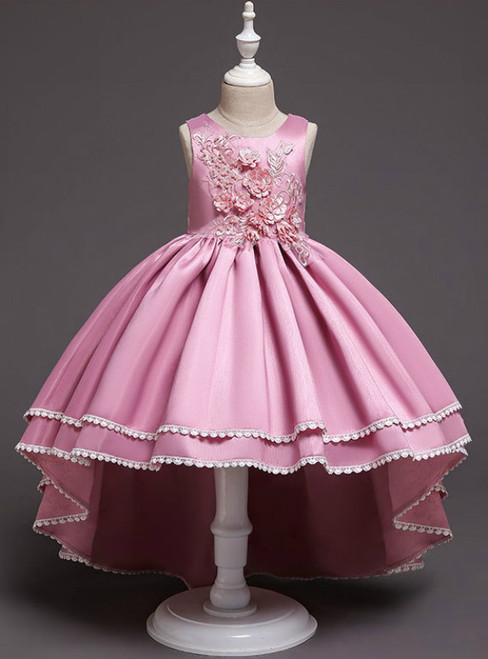 In Stock:Ship in 48 Hours Hi Lo Pink Satin Appliques Flower Girl Dress