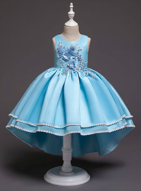 In Stock:Ship in 48 Hours Hi Lo Blue Satin Appliques Flower Girl Dress