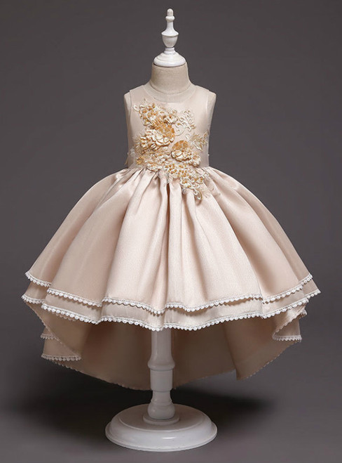 In Stock:Ship in 48 Hours Hi Lo Champagne Satin Appliques Flower Girl Dress
