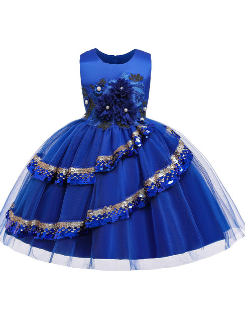 In Stock:Ship in 48 Hours Royal Blue Tulle Appliques Flower Girl Dress