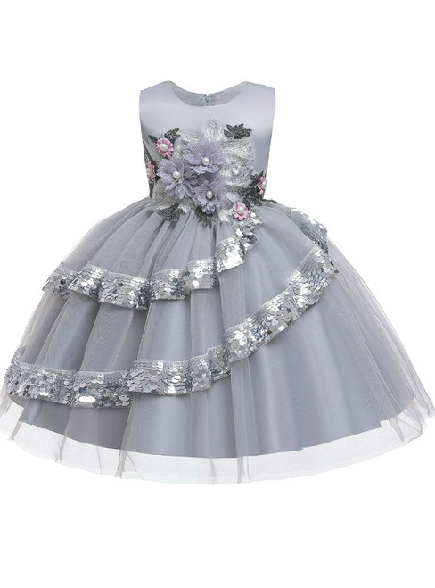 In Stock:Ship in 48 Hours Silver Gray Tulle Appliques Flower Girl Dress