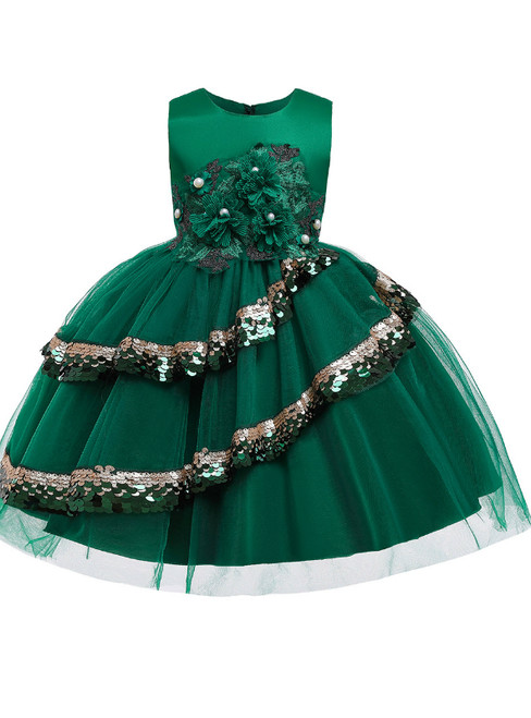 In Stock:Ship in 48 Hours A-Line Green Tulle Appliques Flower Girl Dress