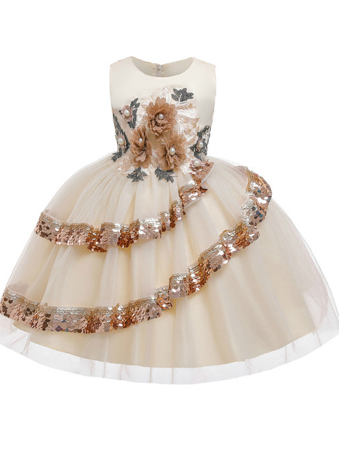 In Stock:Ship in 48 Hours A-Line Champagne Tulle Appliques Flower Girl Dress