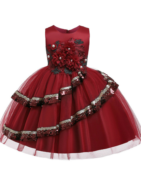 In Stock:Ship in 48 Hours A-Line Burgundy Tulle Appliques Flower Girl Dress