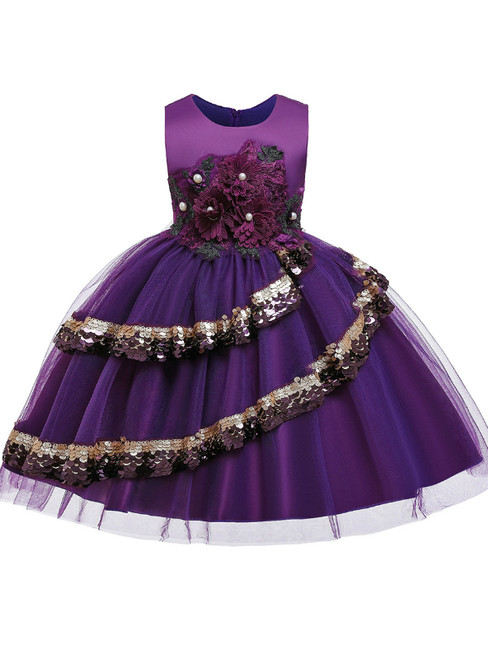 In Stock:Ship in 48 Hours A-Line Purple Tulle Appliques Flower Girl Dress