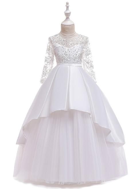 In Stock:Ship in 48 Hours White Satin Tulle Long Sleeve Flower Girl Dress