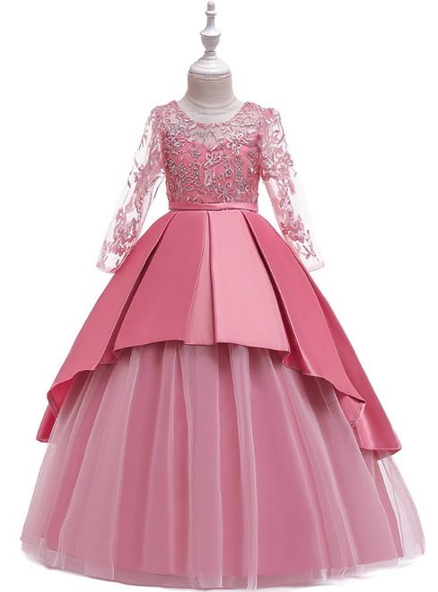 In Stock:Ship in 48 Hours Pink Satin Tulle Long Sleeve Flower Girl Dress