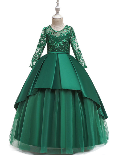 In Stock:Ship in 48 Hours Green Satin Tulle Long Sleeve Flower Girl Dress