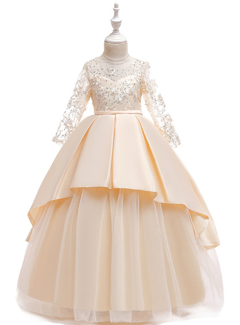 In Stock:Ship in 48 Hours Champagne Satin Tulle Long Sleeve Flower Girl Dress