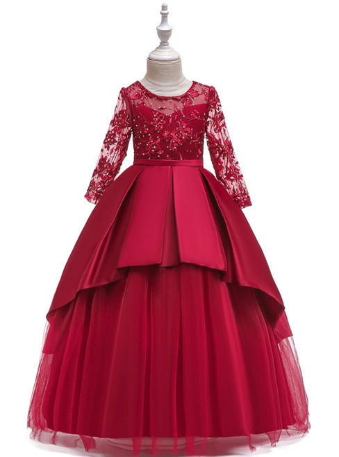 In Stock:Ship in 48 Hours Burgundy Satin Tulle Long Sleeve Flower Girl Dress