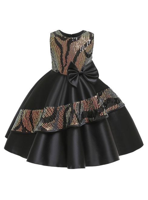 In Stock:Ship in 48 Hours Black Satin Sequins Flower Girl Dress