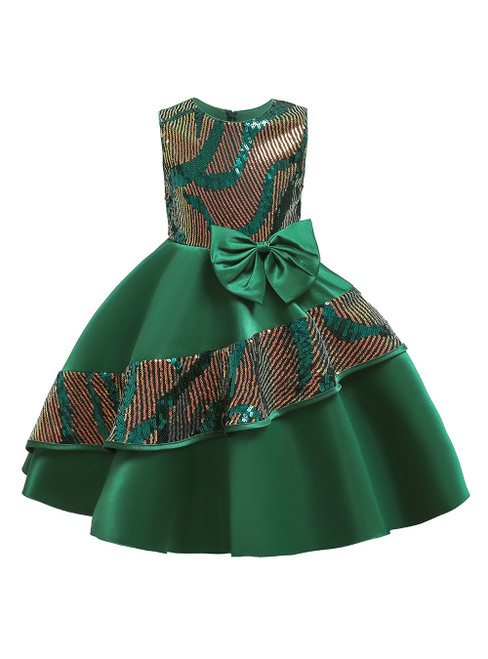 In Stock:Ship in 48 Hours Green Satin Sequins Flower Girl Dress