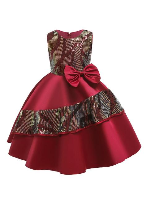 In Stock:Ship in 48 Hours Burgundy Satin Sequins Flower Girl Dress
