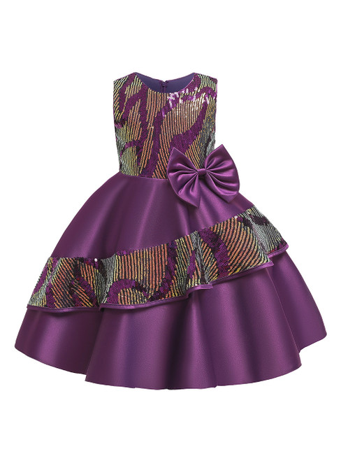 In Stock:Ship in 48 Hours Purple Satin Sequins Flower Girl Dress