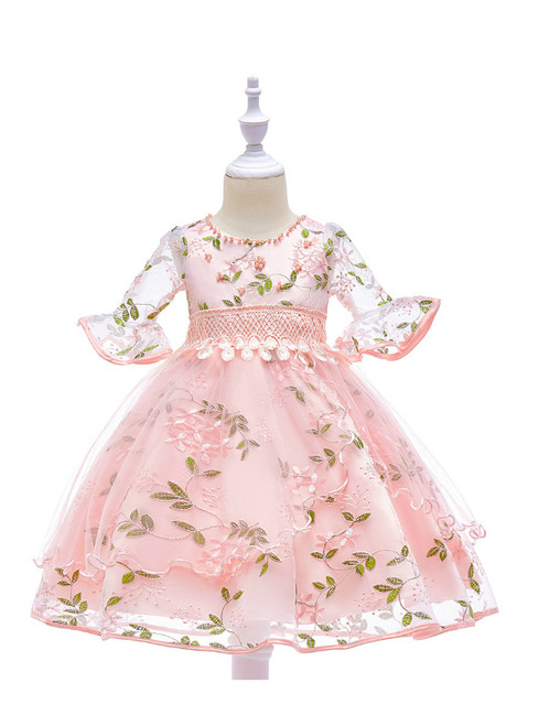 In Stock:Ship in 48 Hours Pink Tulle Embroidery Short Sleeve Flower Girl Dress